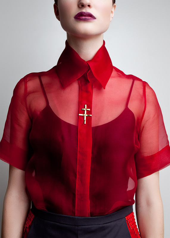 Amanda deLeon - Sheer Red Dress Shirt | amanda deLeon